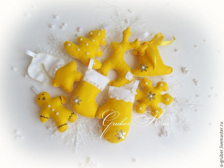 """Купить Елочные игрушки из фетра """"Желтые"""" - желтый, елочные игрушки, елочные украшения, елочная игрушка"""