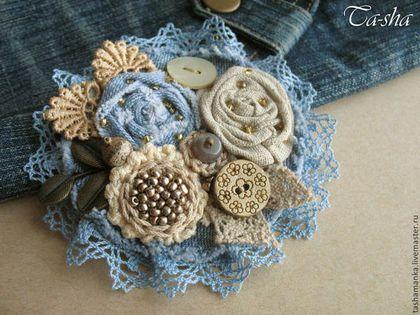 """Brošňa ručné práce. Fair Masters - handmade. Kúpiť """"Betty"""" brošňa kyticu kvetov z textilu, Boho dekorácie. Ručné práce."""