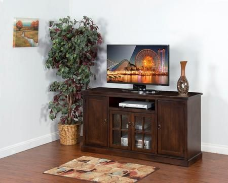 "Santa Fe Collection 3474DC-64 64"" TV Console with Center Speaker Open Space 2 Beehive Glass Doors and Adjustable Shelves in Dark Chocolate Finish"
