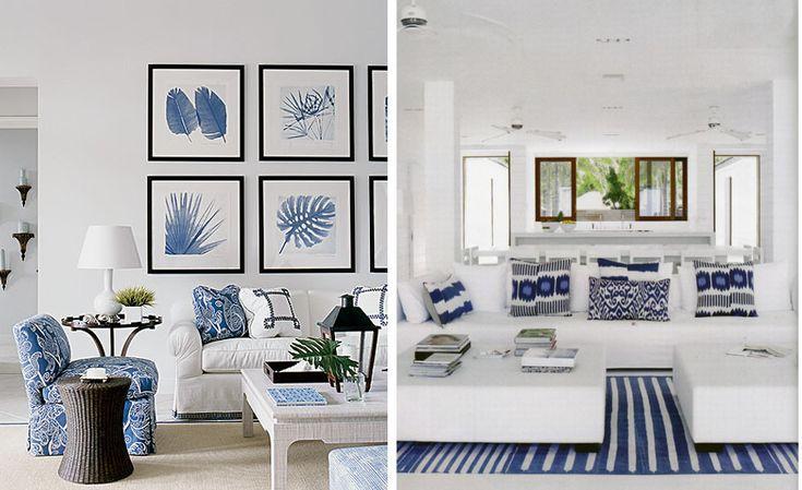 Salones versartilidad estacional azul y blanco colores - Ideas para forrar una pared ...