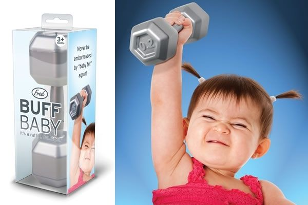 AWESOME baby rattle!Buff Baby, Baby Boys, Baby Rattle, Baby Girls, Baby Dumbbell, Future Baby, Funny Baby, Dumbbell Rattle, Baby Stuff