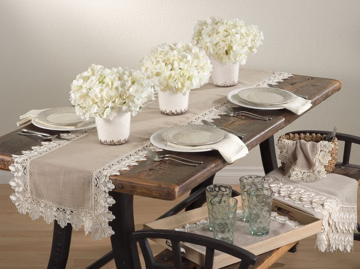 Lace trimmed traycloth, doily, runner, topper, and table cloth in white