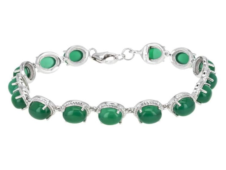 8x6mm Oval Cabochon Green Onyx Sterling Silver Line Bracelet