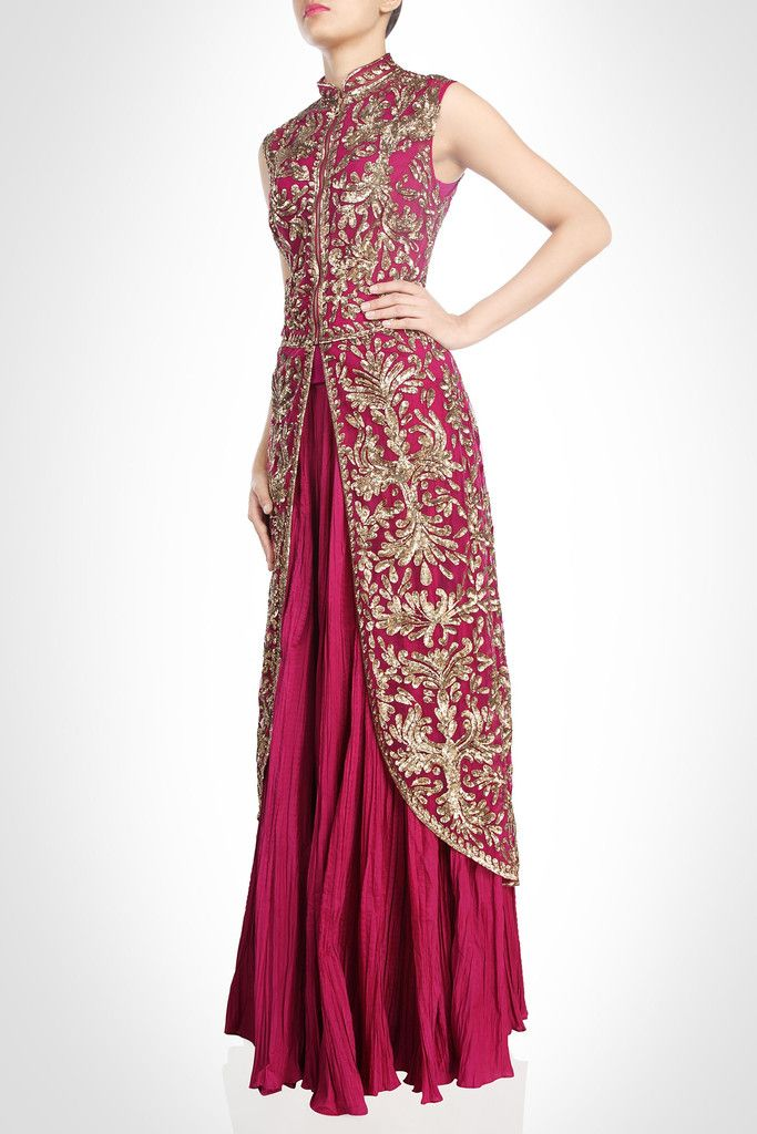 Dark majenta long jacket lehenga