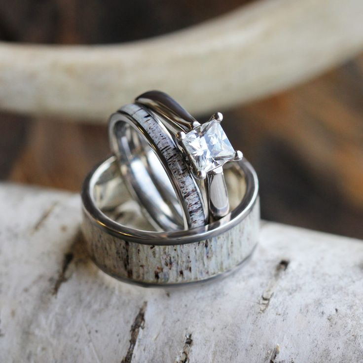 Deer Antler Wedding Ring Set, His And Hers Matching Wedding Bands With Engagement Ring-3438