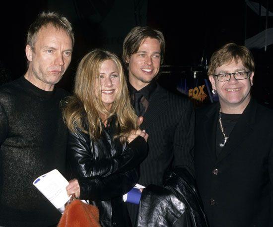 Sting,Jennifer Aniston, Brad Pitt, & Sir Elton John