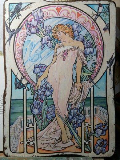 """"""" Iris in terrazza sul Tirreno """" (for you) Acrilici sul legno cm 30x40"""