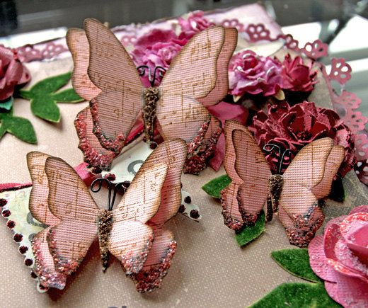 Butterfly Set - Vintage Candy Pink Music Note Butterflies Scrapbook Embellishment Tag Card Mini Album Wedding