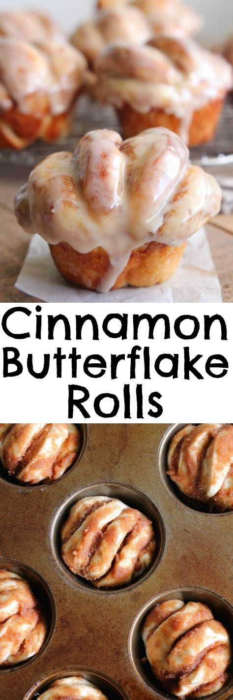 Cinnamon Butterflake Rolls. Warm, cinnamon sugar rolls, that pull apart into soft flakey layers and are smothered in a sweet vanilla glaze, doesn't get much better than that. Totally mouthwatering.