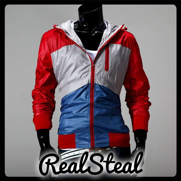 Contrast Color Zipper Design Coat Men Slim Jacket WINE RED