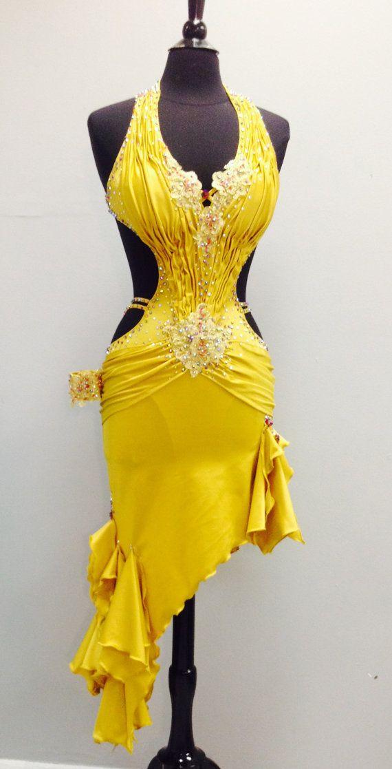 Robes de danse or robe latine danse latine or par DesignByNatasha