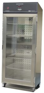 Full Size Blanket Warmer with Glass Doors and Castors. Four Adjustable wire shelves and castors with locks. Perfect for clinical areas requiring large volumes of warm blankets such as ; ED, OR, PACU, Chemotherapy, Imaging. Learn more at  http://continentalmetal.com/2017/11/full-size-blanket-warmer-with-glass-doors/