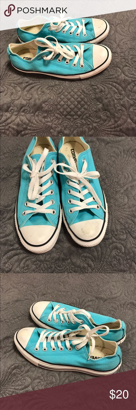 Aqua/teal converse Men's size 5/ women's 7. Slightly dirty. Worn a lot but still have a lot of life left in them. $20 obo Converse Shoes Sneakers
