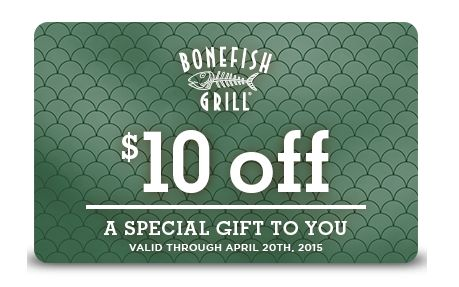 $10 off any purchase at Bonefish Grill  Grab a Bonefish Grill coupon good for $10 off any purchase.