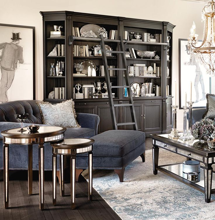 The Athens library with two angled bookcases on the end. Shop Arhaus.