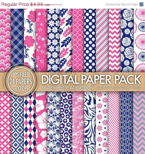 75% OFF 24 Pack Digital Paper  Pink White by aestheticaddiction