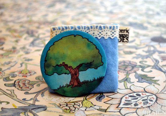 Oak Tree Fabric Pocket Mirror