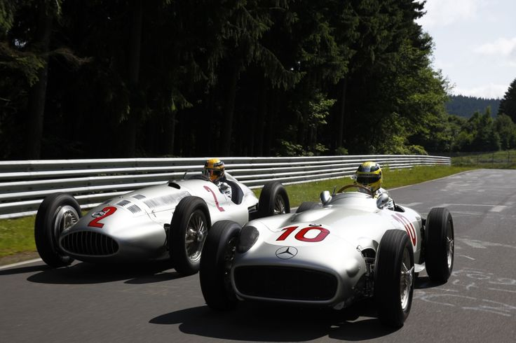 Nico Rosberg and Lewis Hamilton drive the W196 and W154 at the Nordschleife. #F1 #motorsport #MercedesBenz #Rosberg #Hamilton