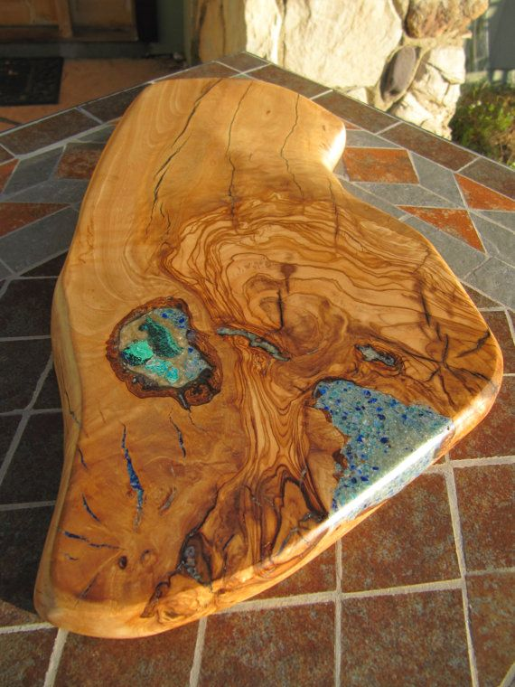 Olive wood Cutting board/Bread board. Olive wood Sky Blue Apatite/Lapis