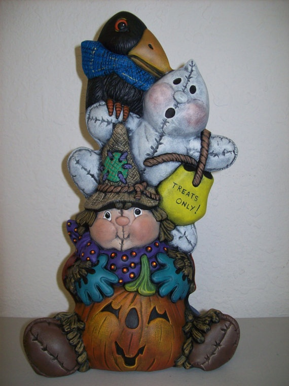 Hand Painted Ceramic Fall Scarecrow Stack. $32.00 USD, via Etsy.