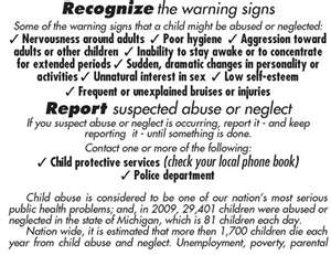 a look at the warning sign of child abuse By becoming educated about child sex abuse, you are already becoming a proactive and protective adult  warning signs in children of possible abuse.