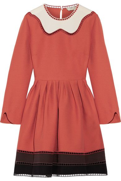 Fendi - Cutout Color-block Wool And Silk-blend Mini Dress - Orange