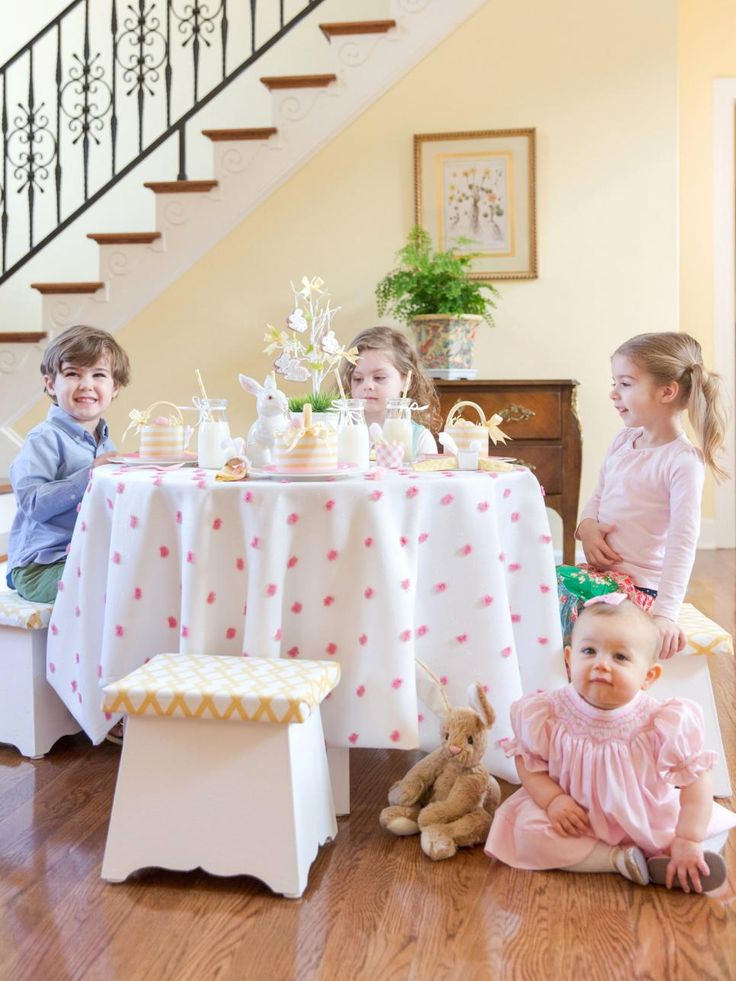 Set a coordinated pink and yellow table just for the little ones complete with sweet treats, special basket favors and Easter egg touches.