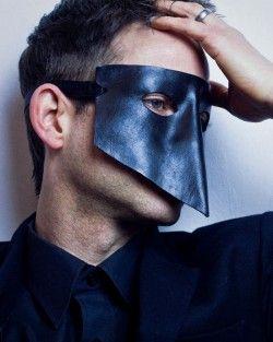 Black Ducal Men's Leather Masquerade Mask