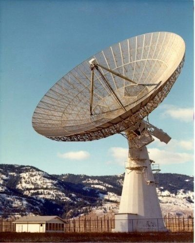 The 25.6-metre parabolic antenna.