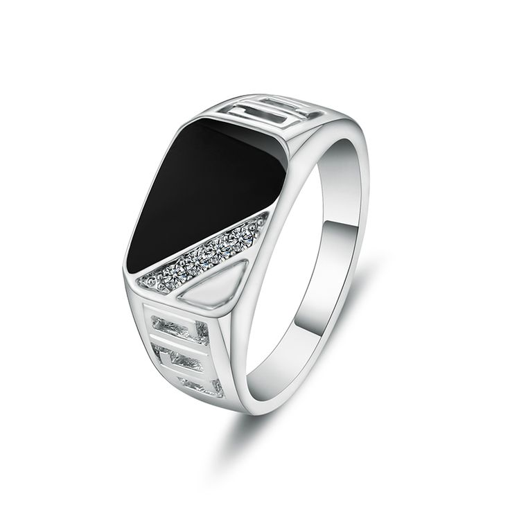 Size 7-12mm Hight Quality Man Ring White Gold Plated Crystal And Black Enamel Jewelry Men Rings