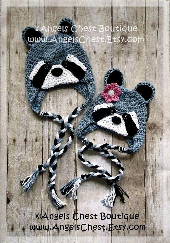 MAPACHE ganchillo Beanie sombrero con orejeras Patrón PDF Tamaños recién nacidos hasta adultos Boutique Diseño - No. 56 por AngelsChest