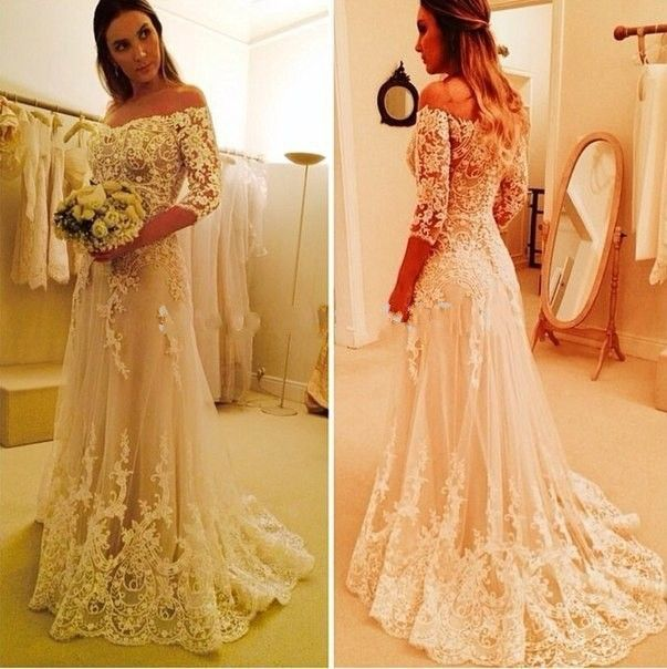 Barato Tribunal trem Vestido De Noiva Com Manga 2015 uma linha fora do ombro mangas meia Lace Wanda Borges De Noiva vestidos De Noiva, Compro Qualidade Vestidos de noiva diretamente de fornecedores da China:   On Sale 2015 Beach Chiffon Sexy Flower Summer Wedding Dresses V neck High Low Backless Romatic Mariage De Marriage Ves
