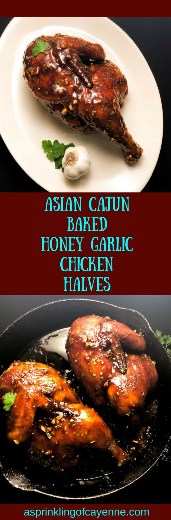 Asian Cajun Baked Honey Garlic Chicken Halves. An easy gluten free, Paleo-friendly chicken recipe with a super juicy inside, and ultra-crispy outside. Baked in cast iron with an out of this world Cajun Asian fusion sauce. https://asprinklingofcayenne.com/asian-cajun-baked-honey-garlic-chicken-halves/ #glutenfreerecipes #glutenfreechicken #honeygarlicchicken #bakedchicken #castiron #castirionchicken #asprinklingofcayenne #paleodiet