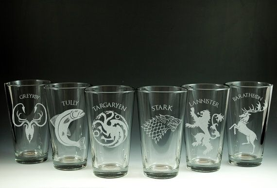 I think I know what my hubbie might getting for Christmas! Game of Throne  House  Etched Pint Glasses  Choice by NexusGlass, $35.50