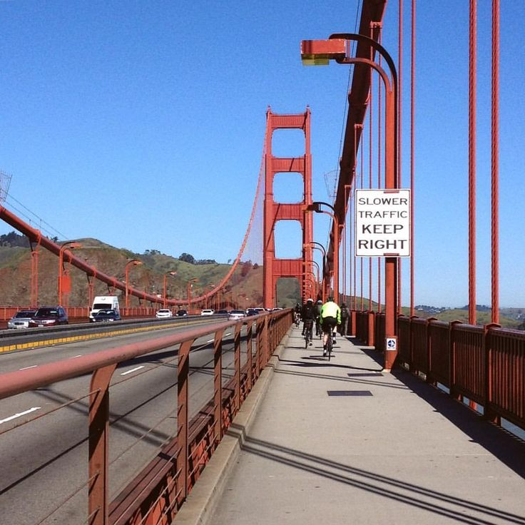 Biking over the San Francisco bridge