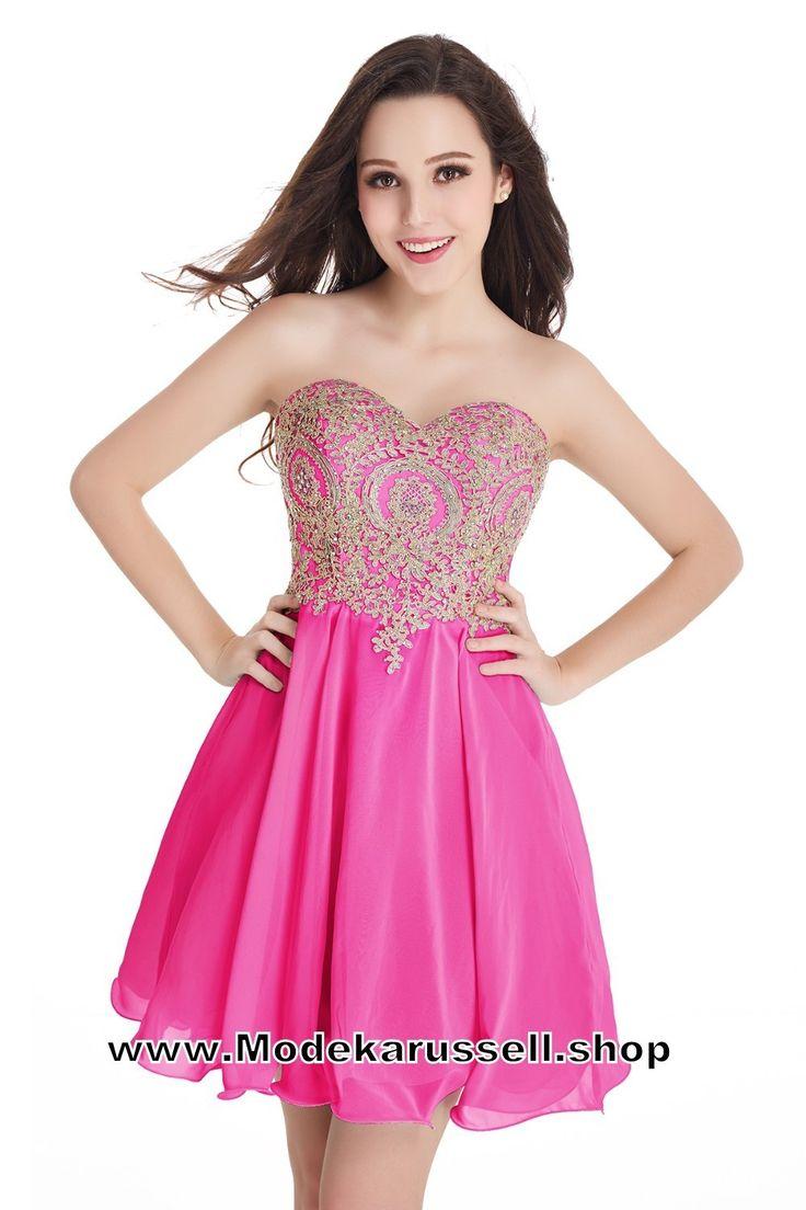Sexy Herzausschnitt Stick Abendkleid kurz Antra Pink