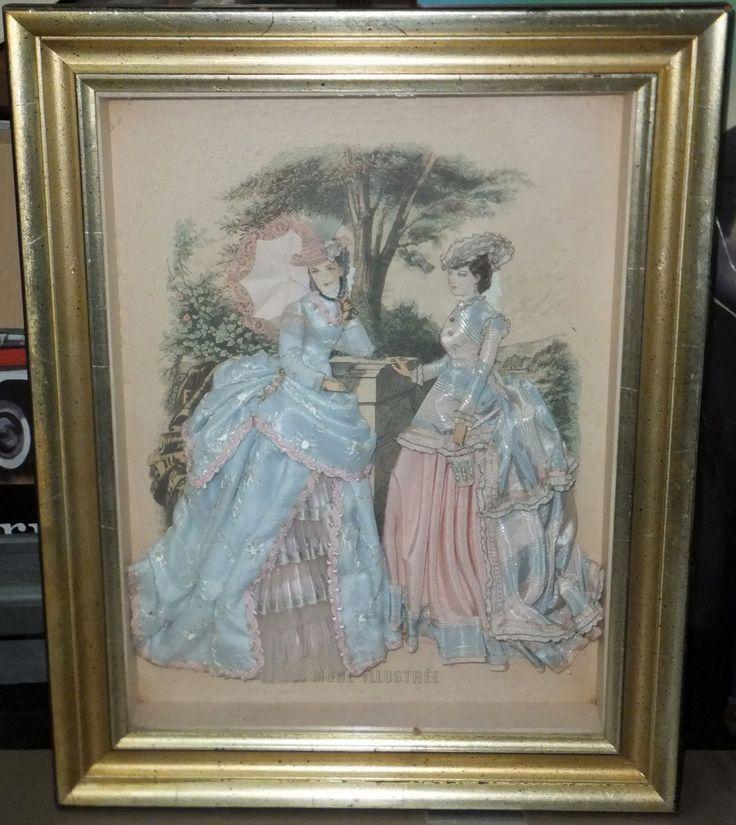 Antique La Mode ILLUSTREE Embellished Textile Framed Victorian Artwork | eBay