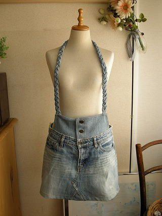 「ジーンズ、ジーパン、デニム」からスカートへのリメイク例です。