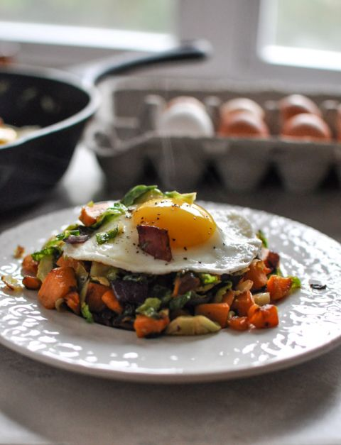 Sweet Potato & Brussels Sprouts Hash I  omit bacon; add dried cherries & balsamic drizzle- anna's house