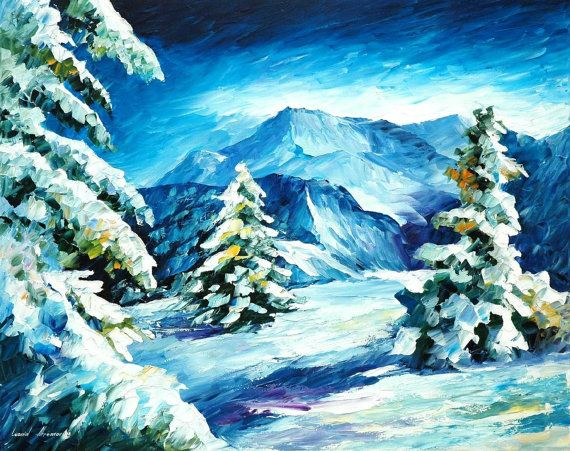 "Mountains - Above And Beyond — Winter Landscape Oil Painting On Canvas By Leonid Afremov. Blue Wall Art, Size: 30"" X 24"" (75 cm x 60 cm)"