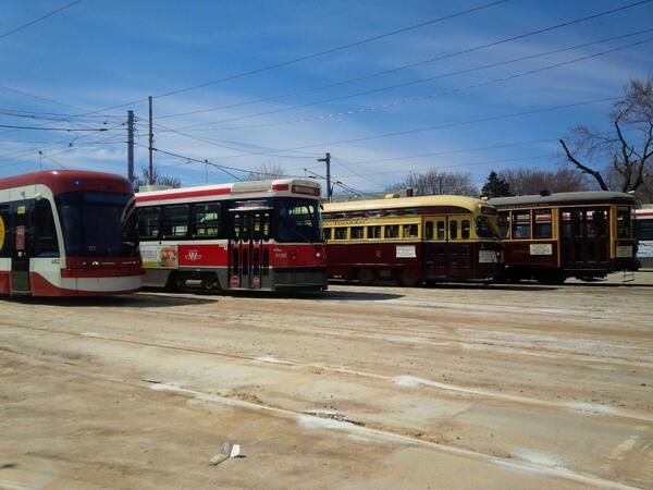 Four generations of Toronto Transit Commission (TTC) streetcars.