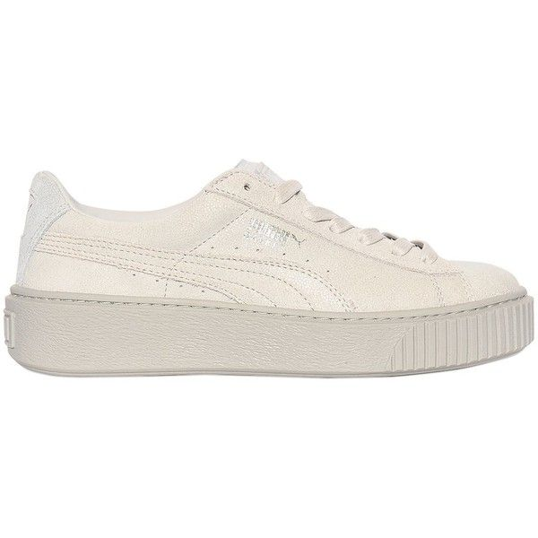 Puma Select Women Basket Suede Platform Sneakers (465 ILS) ❤ liked on Polyvore featuring shoes, sneakers, light grey, puma footwear, puma sneakers, suede shoes, suede leather shoes and rubber sole shoes