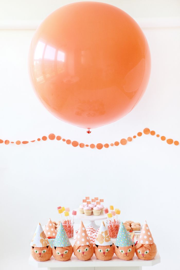 Giant Balloon Over A Dessert Table: Kids Parties, 4Th Birthday, Orange Cat, 4Thbirthday, Giant Balloon, Big Balloon, Kids Birthday Parties, Parties Ideas, Cat Parties