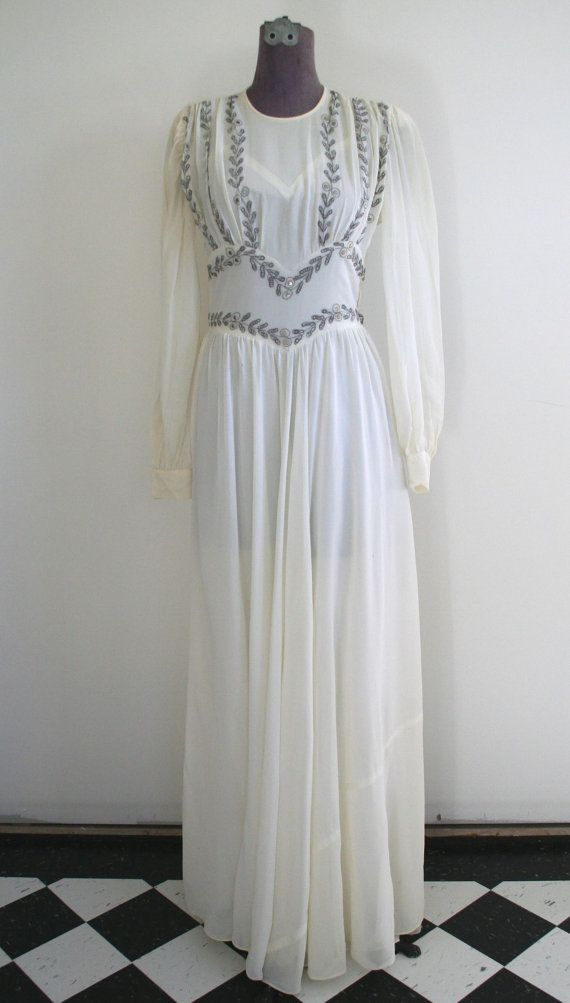 Beautiful 1930's 1940's long cream silk chiffon dress with embroidery, long sleeved, size small or 4, wedding or winter dress