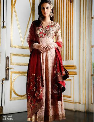 Asian Fashion Blog: Eid 2015 Inspiration from Pernia's Pop Up Shop - blush salwar kameez with deep red dupatta