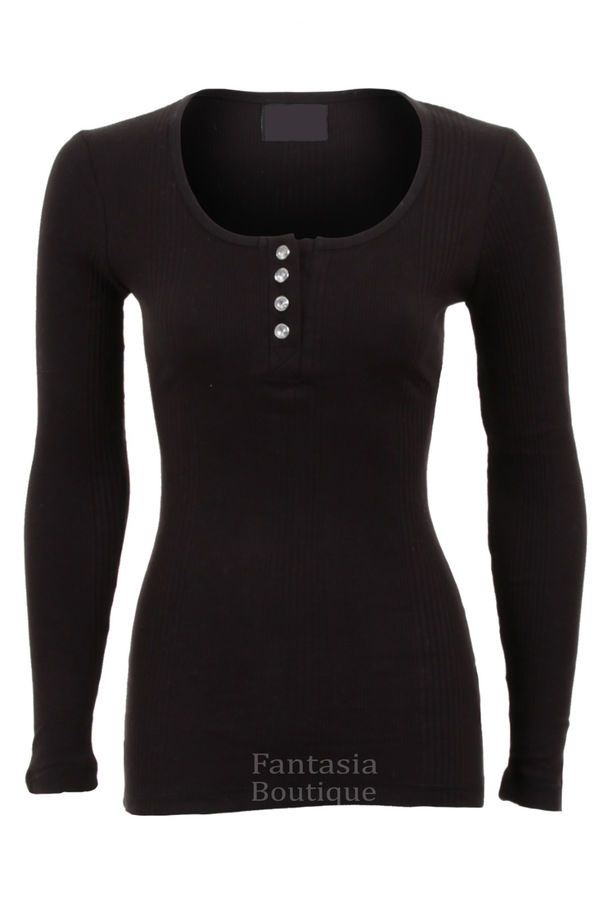 5e29e2da8bf48 New Womens Diamond Button Fitted Ribbed Long Sleeve Top Ladies TShirt Size  8- 14
