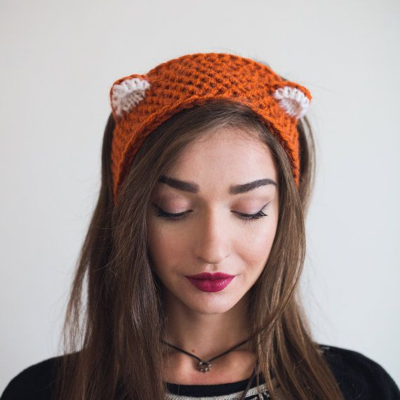 Fox headband , Girls Headband, Cat Ears Headband, Ear Warmer, Head Wrap, Knit Headband, Animal Ears, gift. Beige, gray, red,black,any color.