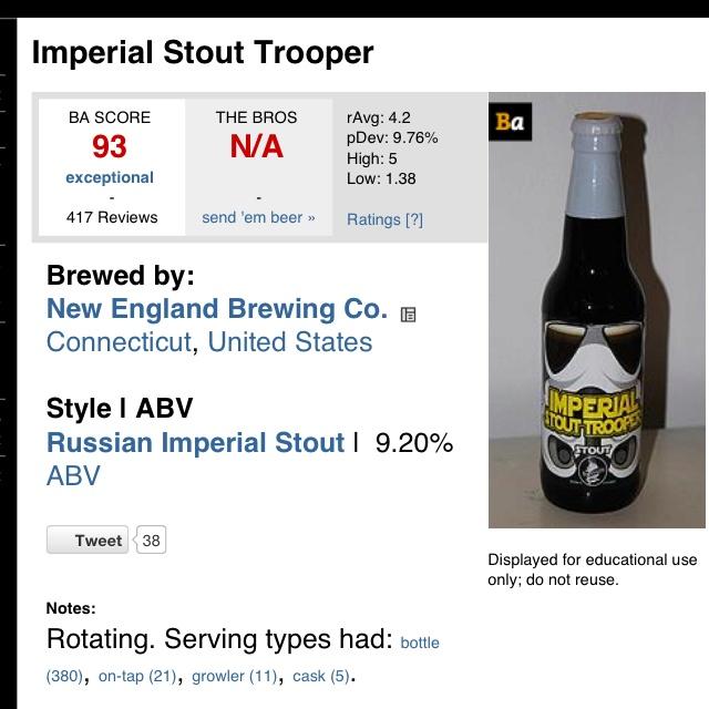 Imperial Stormtrooper Stout found on Beer Advocate websiteBeer Advocate, Imperial Stout, Advocate Website, Russian Imperial, Brewbeer Homemadeb, Website Beer, Stormtroopers Stout, Bear Brewbeer, Imperial Stormtroopers