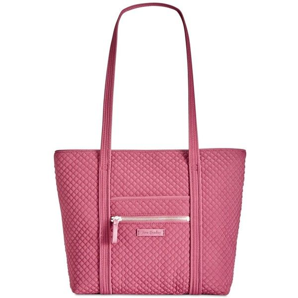 Vera Bradley Iconic Small Vera Tote ($98) ❤ liked on Polyvore featuring bags, handbags, tote bags, hawthorn rose, white tote bag, tote handbags, vera bradley tote, structured tote and lightweight tote