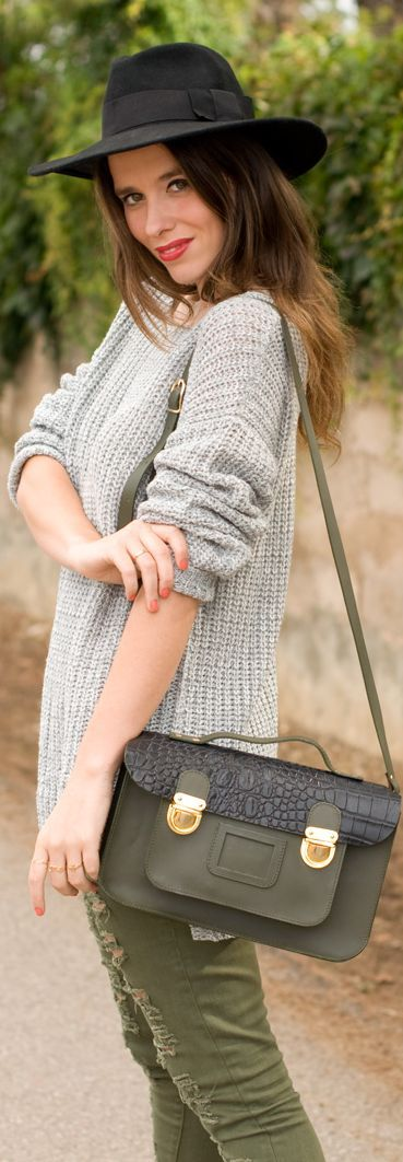 oversized sweater + army green pants